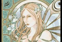 Fairies cross stitch / Fantasy fairies in cross stitch kits, patterns or charts / by Yiota's cross stitch