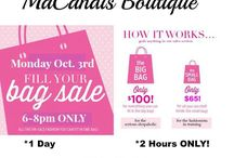 MaCandis Boutique Sale! / HUGE Sale at MaCandis Boutique Oct. 3, 2016.  from 6-8pm ONLY!   Fill a Bag for $100 or a smaller bag for $65  All Sales are Final!