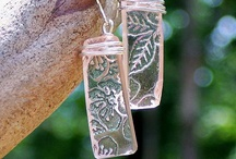 Antique Pink Depression Glass Jewelry / Bottled Up Designs, from the antique glass and bottles reclaimed from wooded habitats and rural farmlands, a stunning collection of jewelry handcut from broken antique pink depression glass dishware!