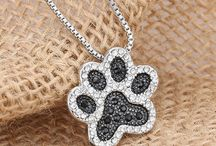FREE Silver Plated Black and White Crystal Rhinestone Paw Pendant Necklace - Just Pay Shipping!
