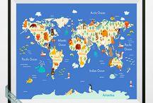Animal World Map Prints / Animal World Map Prints