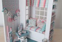 Miniature dollhouse rooms