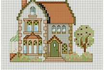 HAUSE-WINDOW-DOOR* CROSS STITCH-EMBROIDERY