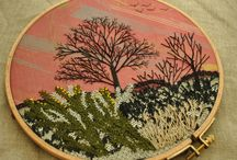 nature embroidered hoop art