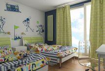 Projekt Fiorentino 549 - pokój bliźniaków / Projket pokoju - sypialni dla bliźniąt. W projekcie wykorzystano meble z serii nowoczesnej Fiorentino 549.