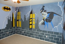 """Superhero Mural #1 designed by Kid Murals by Dana Railey / This young boys room was painted by Kid Murals by Dana Railey. The faux brick wall was painted 1/4th of the way up around the whole room. The """"call sign"""" for adds a personal touch by adding the child's name. Batman is swinging in on a yellow rope attached to the wall. For more images visit http://www.facebook.com/kidmuralsbydanarailey or www.scottsdalemurals.com"""