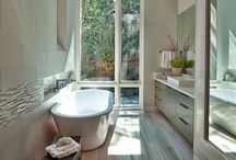 "Bathrooms with Floorboards / Some people say"" Timber floors in bathrooms, never."" But yes you can!"