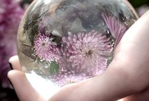 Glass ball with hands