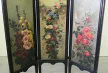 Victorian handpainted screen