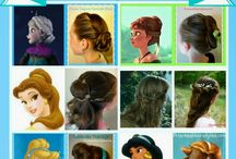 Disney Princess Hairstyle Tutorials / Disney Princess Hairstyles.  Belle, Jasmine, Cinderella, Elsa, Anna, etc. Hairstyles from Aladdin, Beauty and the Beast, Brave, & Frozen.  Video tutorials and step by step pictorials.