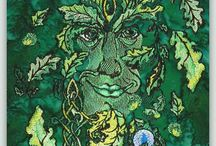 Green Man Series - Sally King / Sally does pyrography in addition to painting and drawing and these design i think are really special.  You get full instructions too to make your *wood background*,  And they can be stitched as a regular wall hanging.  #Green   #Greenman