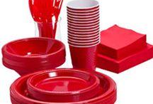 Rødt engangsservice / Stort udvalg af rødt engangservice til din fest og fødselsdag.