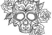 Coloring Tattoo pages and skulls