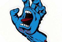 santa cruz screaming hand logo vector
