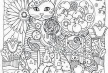 coloring pages - cat, owl, dog etc