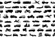 Transportation Silhouette Vector / People use different modes of transport to reach their destination. We have a collection of different modes of transportation in vector format that can be used for any design project.