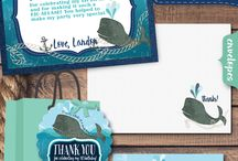 Nautical Baby Whale 1st Birthday Invitation Party Set! / This nautical baby whale 1st birthday invitation is simply adorable! With beautiful custom fonts and stunning nautical graphics, this whale theme design will make a HUGE splash with your party guests! Check out the darling whale theme thank you cards, favor tags, water bottle labels, and food tent cards.