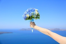 All in blue / Wedding in Santorini- Flower Creations and Decoration: ''Wedding Wish Santorini'' (www.facebook.com/SantoriniFlowersAgrokipio)
