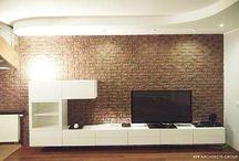 Salon cegła remont / projekt salonu  salon w cegle architekt wnetrz slupca architekt slupca architekt 479  #projekt #salon #cegła #architekt #wnetrz #słupca #architekt