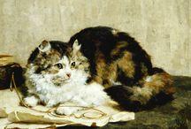 Peintre (Charles Van Den Eycken) / Chats