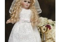 """First Communion Doll Dresses / Adorable first communion doll dresses match many of our girls communion dresses. Fits American Girl and other dolls approx. 18"""" H. Made in the USA"""