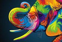 Cuadros de animales coloridos
