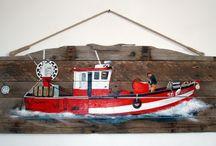 Mon travail sur Pinterest / My work on Pinterest / Peintures : Sur bois flotté et bois de récup', toiles, sur le thème de la mer ( phares, bateaux, poissons ) / by une Bigoudène à Paris