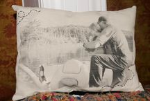 vintage photos on a pillow
