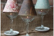 Wine glass candle and shades