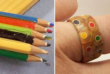 Wooden color pencil rings