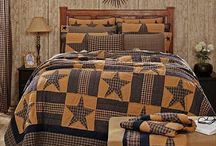 Americana Bedding / Rustic, Primitive and Country Star Block Quilt Bedding and Comforter Sets