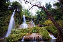Dai Yem waterfall, Moc Chau in Vietnam / The #beauty of #DaiYem waterfall in Vietnam the volume of water pours down much that creates a #majestic and #romantic picture and will have opportunities to watch the magic #beauty which the nature grants this area, live in a primeval scene.