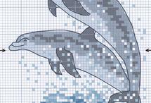 Cross stitch - dolphins