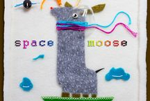 *space moose* / Hand made illustration. Since the recent technical work has me a little scraps, I decided to use them more practical. In addition to the felt and embroidery floss were also matches, some strange metal discs and a fragment of the damaged bulb. That is how the space moose :) Size: 16,5 x 22,5 cm