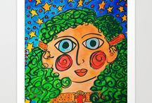 Tallulah & The 100 Ladies Project / Original art as fine art prints and on other merchandise by outsider artist Maitri Libellule. Delightful, whimsical, each of the women have their own stories. They are available at Society 6.