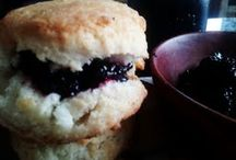 Rum Wildberry Jam and Hot Butter Crisp Biscuit / The wild black berries have come in here in Nashville. I love making easy refridgerator jam.  I use sugar and rum and then simmer and stir... the outcome is fantastic.  A smoky sweet wild berry taste.  Very unique.