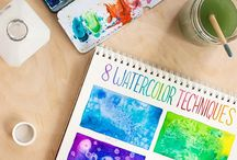 Watercolors / Aquarelle samples & tecniques