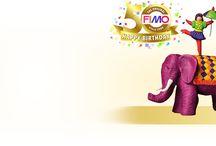 50 anni FIMO® Buon compleanno! / FIMO® la sostanza modellabile indurente in forno è presente già da 50 anni per il divertimento nel modellare senza limiti per tutta la famiglia!  L'amato marchio tradizionale FIMO® è stato (ed è) inventato, sviluppato e prodotto in Germania. Oggi FIMO® è disponibile in oltre 60 paesi in 115 differenti colorazioni.
