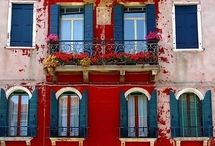 Maison Rouge~Maison Bleu / I just might throw in a hint of yellow now and then... / by PAMELA de Santa Fe