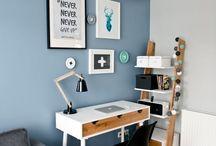 Estudio azul y blanco
