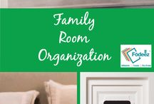 Family Room Organization / A room can still be cozy, but organization helps make sure everyone can find what they need while enjoying the company of family. Tips to keep play areas, bookshelves and walls organized and functional.