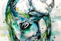 faux vitrail - dessin -aquarelle
