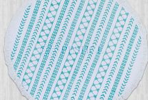 TANSEL Roundie Peshtemal - 100% Natural Turkish Cotton - Stone Printed