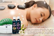 Aromatherapy and Air Purification / Pure Water Based Air Revitalizers clean the air, put negative ions, neutralize viruses, and germs, sanitize the air, deodorize the air and humidify the air.  ALL IN ONE!!!!  Sleep better, concentrate more.  Aroma therapy unlike any other! PUREFROMNATURE.COM