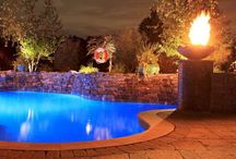 Swimming Pools Night Shots / Enjoy your pool in the evening with the alluring lights and majestic flames from the fire bowls.  A true backyard paradise!
