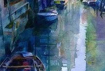 Város akvarell