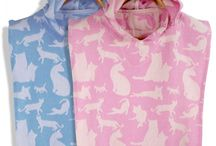 Kid's Poncho Towels Made of Pestemal / Hooded poncho kids towels woven of genuine cotton Turkish pestemal.