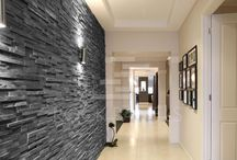 Tile feature wall living room
