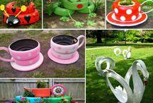 Autonrenkaista ideoita puutarhaan!