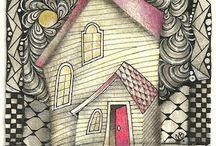 Hauses- doodles, zentangle